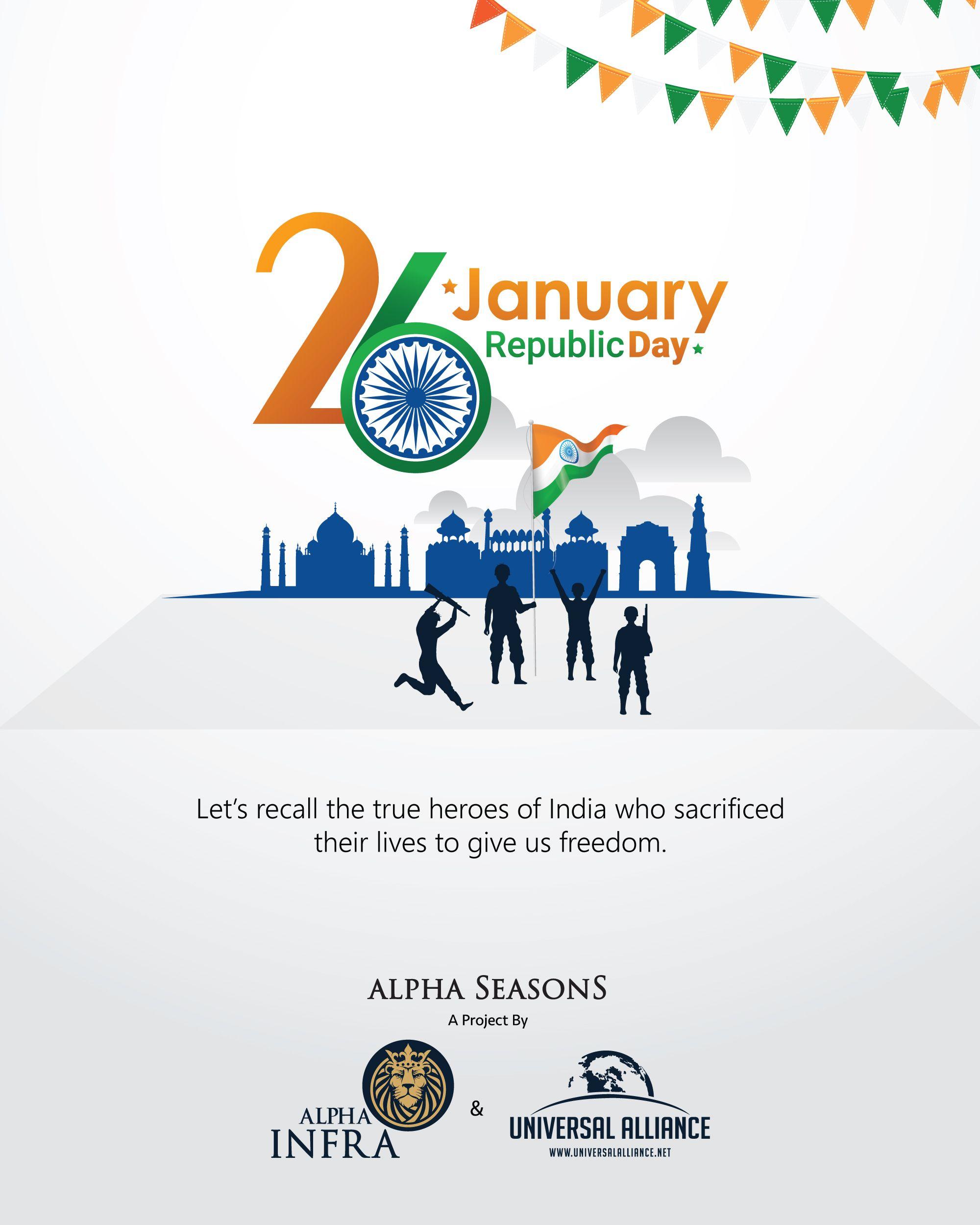 Happy republic day greetings design for social media