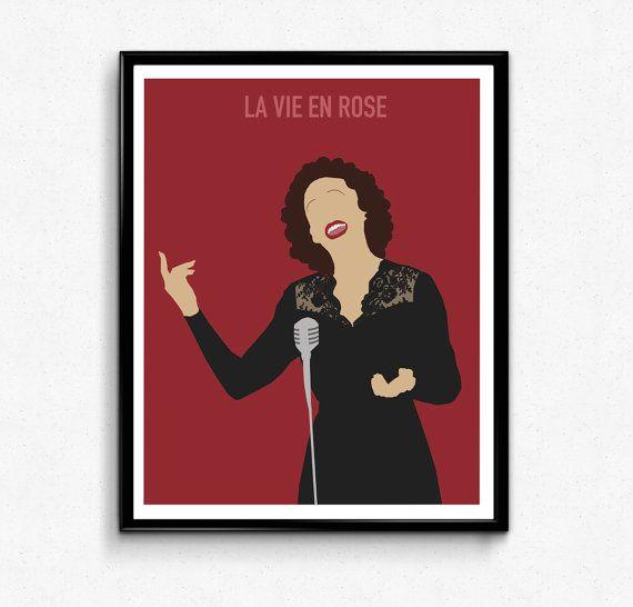 La Vie En Rose Movie Poster Edith Piaf Etsy Movie Prints Edith Piaf Movie Posters Minimalist