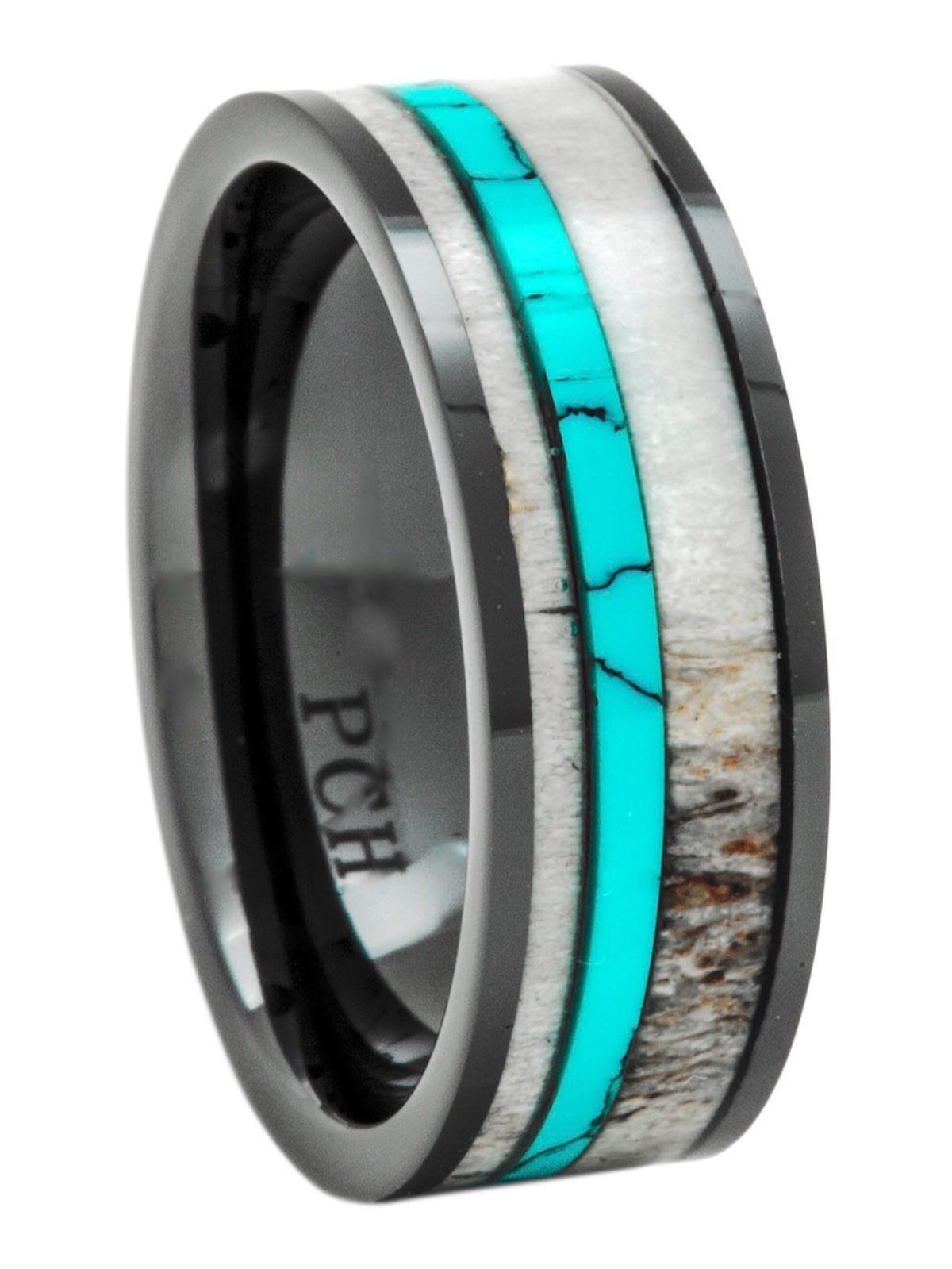 Deer Antler Ring Turquoise Black Ceramic 8mm Fort Fit Wedding Band Or Gift: Antler Wedding Ring Turquoise At Websimilar.org