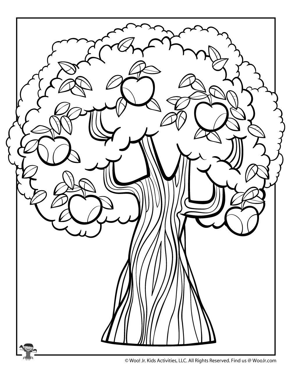 Tree Coloring Pages For Kids Apple Tree Coloring Page In 2020 Apple Coloring Pages Tree Coloring Page Coloring Pages