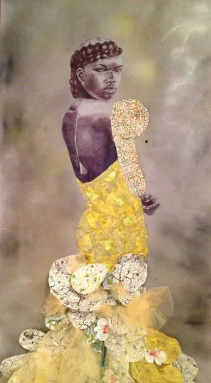 "Contemporary Art Week! Jamea Richmond-Edwards It Could Be A Sad Story 2011. Ink, Acrylic, Mixed Media, Collage on Mylar. 89 x 36"". from: Revealing the African Presence in Renaissance Europe: Contemporary Response"