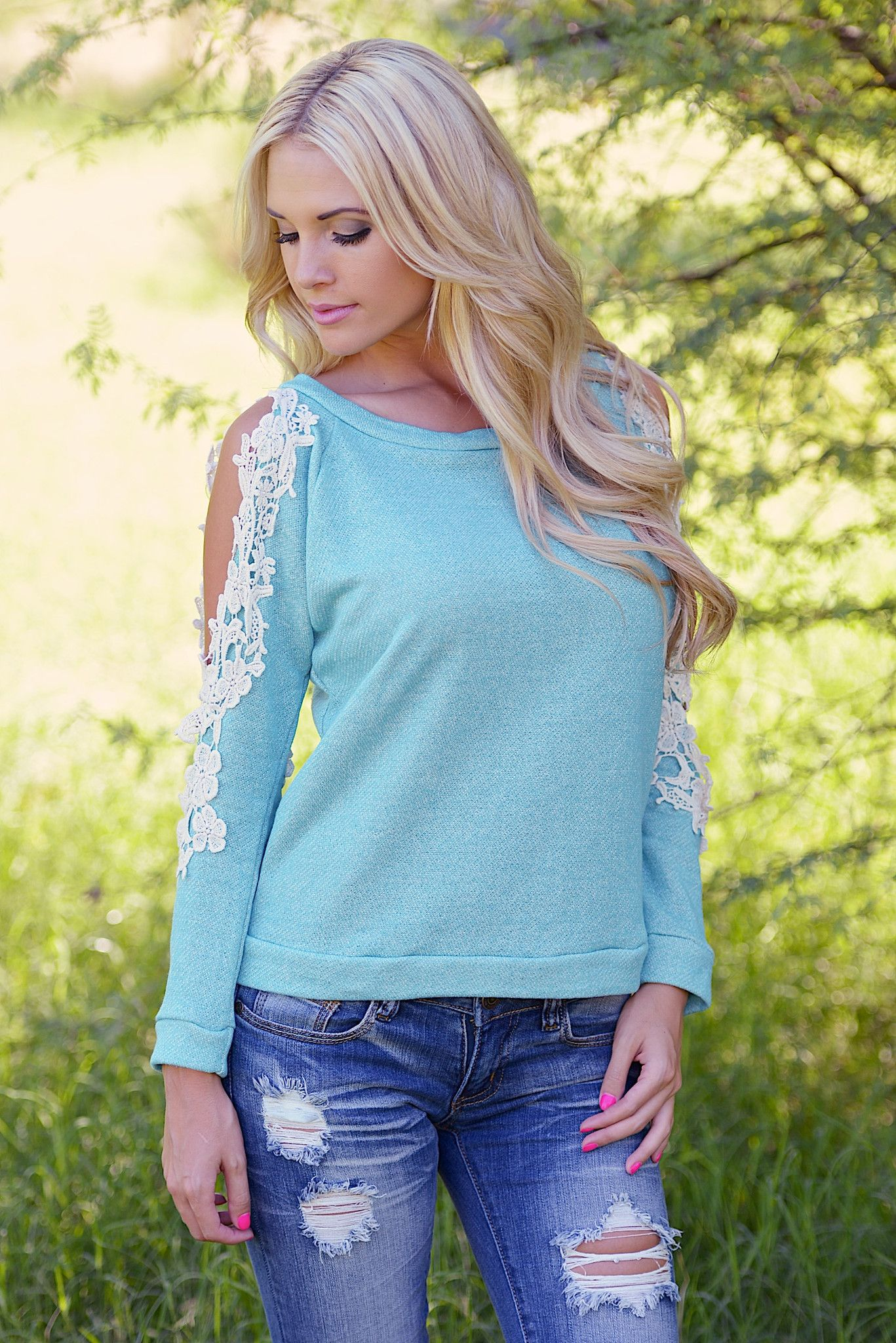 My Reason To Smile Sweater- Aqua from Closet Candy Boutique