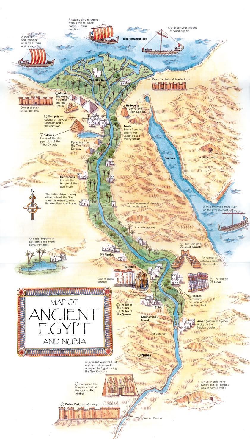 Map Of Important Features And Landmarks In Ancient Egypt Ancient - Map of egypt old kingdom