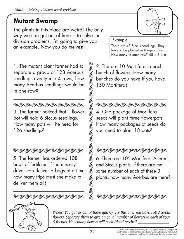 Mutant Swamp Printable Division Worksheets for 4th Grade