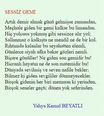 Yahya Kemal Beyatlı Sessiz Gemi Turkiye Poems Poetry Ve