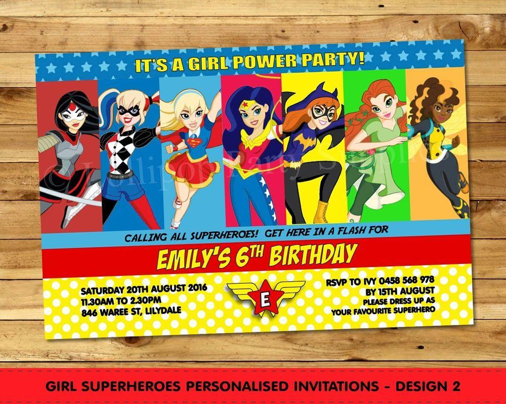 Girl superhero personalised invitations birthday party wonder woman girl superhero personalised invitations birthday party wonder woman any age kristyandbryce Image collections
