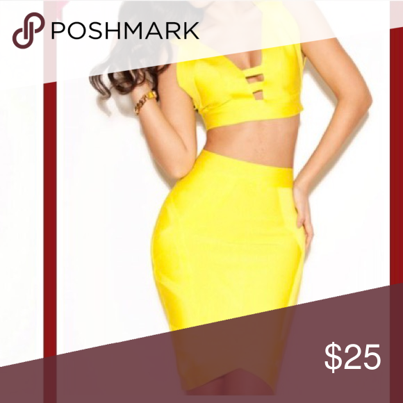 Yellow 2 Piece Outfit Gorgeous yellow...2 piece...bandage style outfit...Great for a party club...etc...Amazing fit and piece... wold dress Dresses Maxi