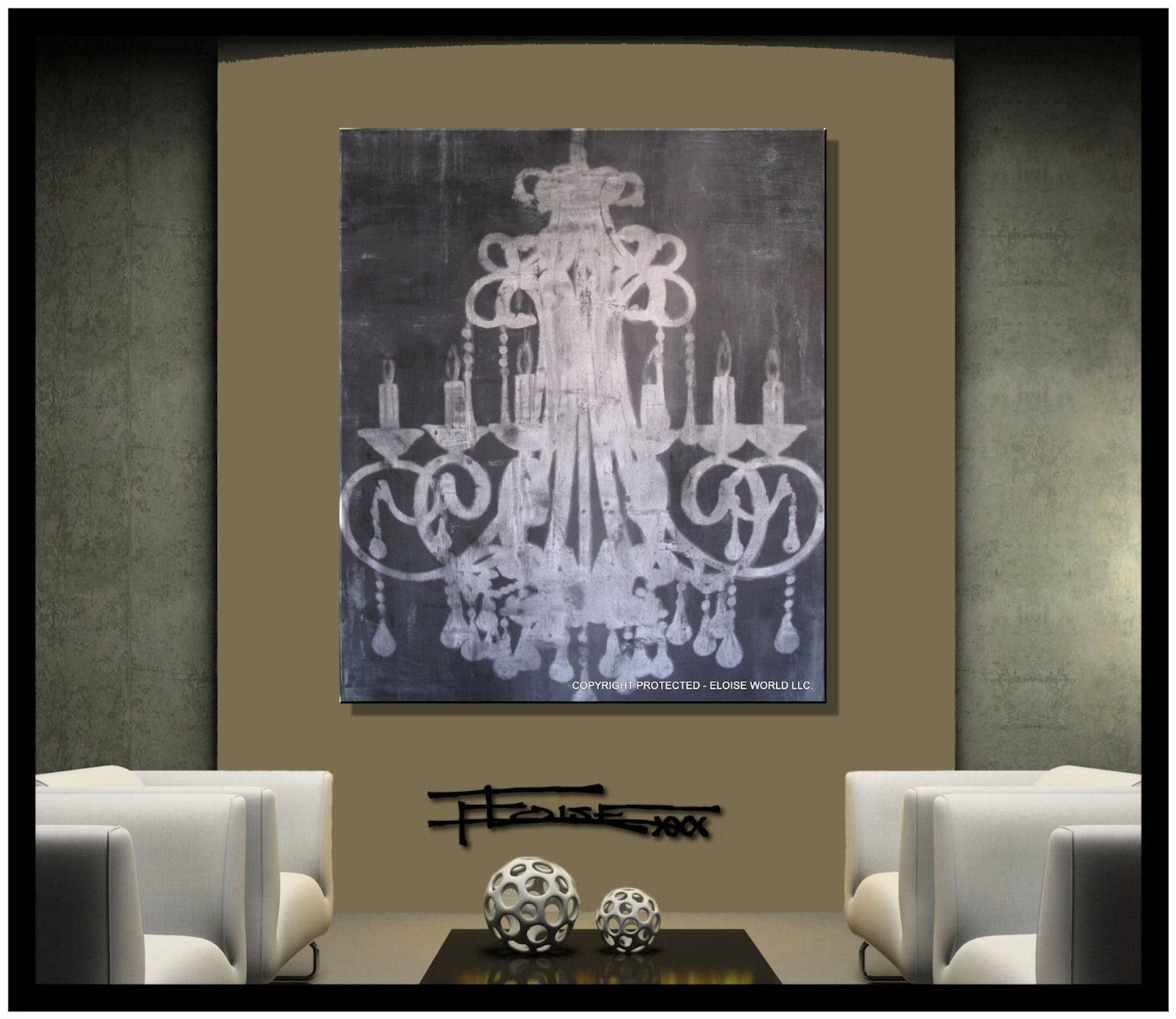 Classy chandelier canvas art Abstract modern giclee on Canvas