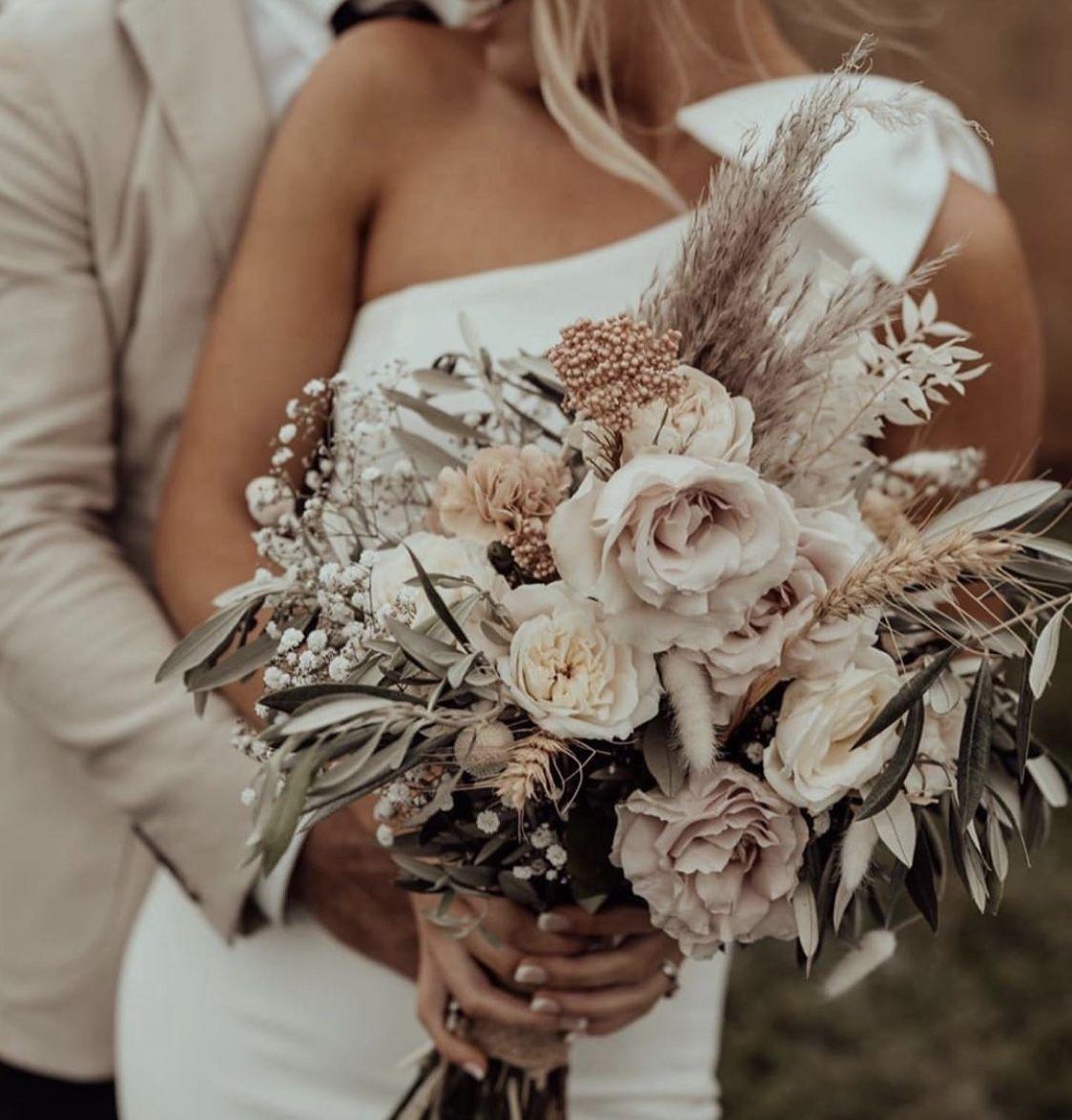 Mauve & White Rose Bridal Bouquet - Driftwood Flowers