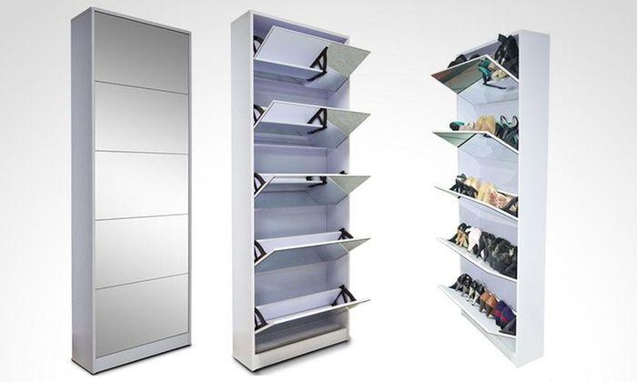 Groupon shopping: Mueble zapatero de 5 niveles con espejo. Incluye ...