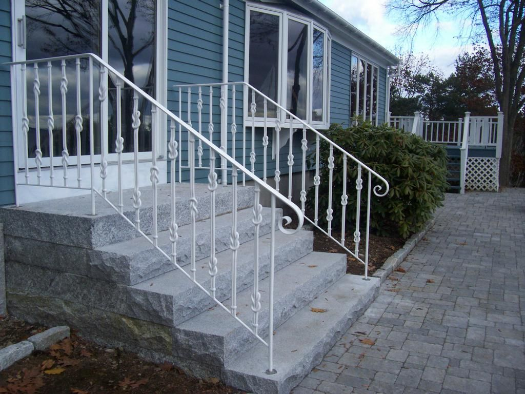 Image Of Wrought Iron Exterior Handrail Including Light Blue Wood Siding S
