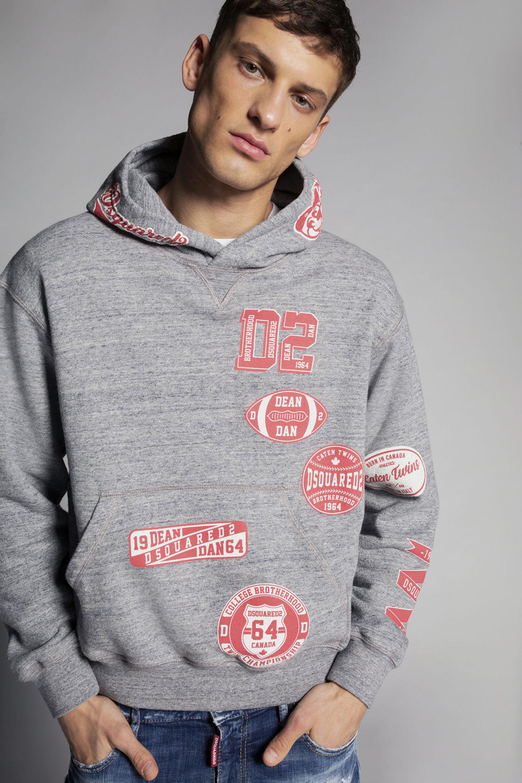 Dsquared2 Team D2 Hooded Sweatshirt Sweatshirts For Men Official Store Sweatshirts Hooded Sweatshirts Hoodies Shop [ 2251 x 1500 Pixel ]