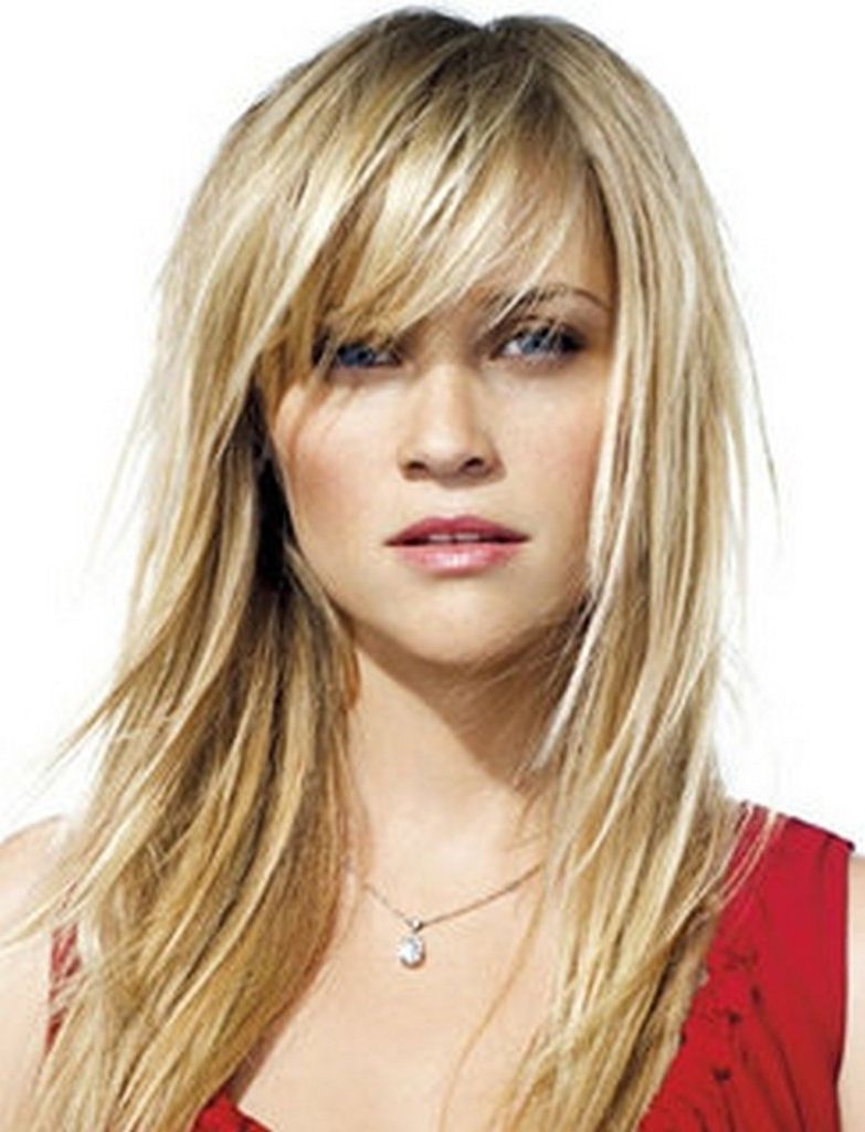 Hairstyle for long fine hair with bangs long layered haircuts for