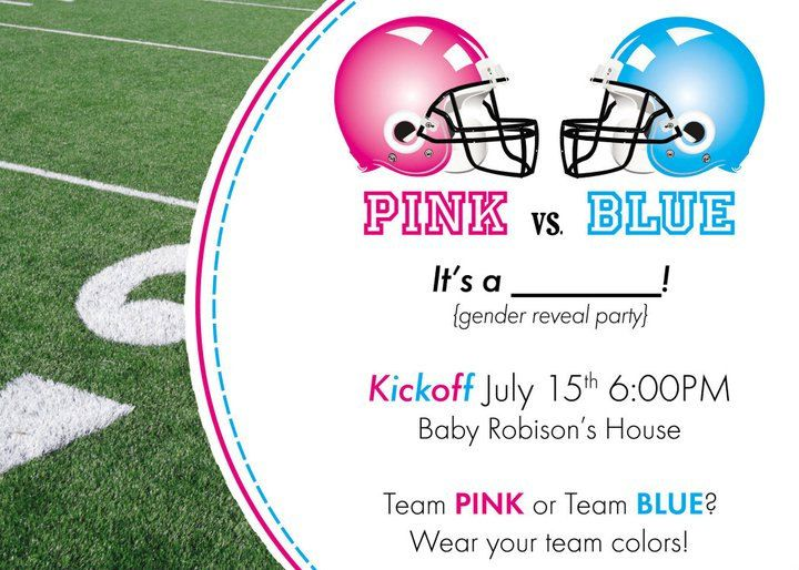Custom Diy Printable Pink Vs Blue Football Themed Gender