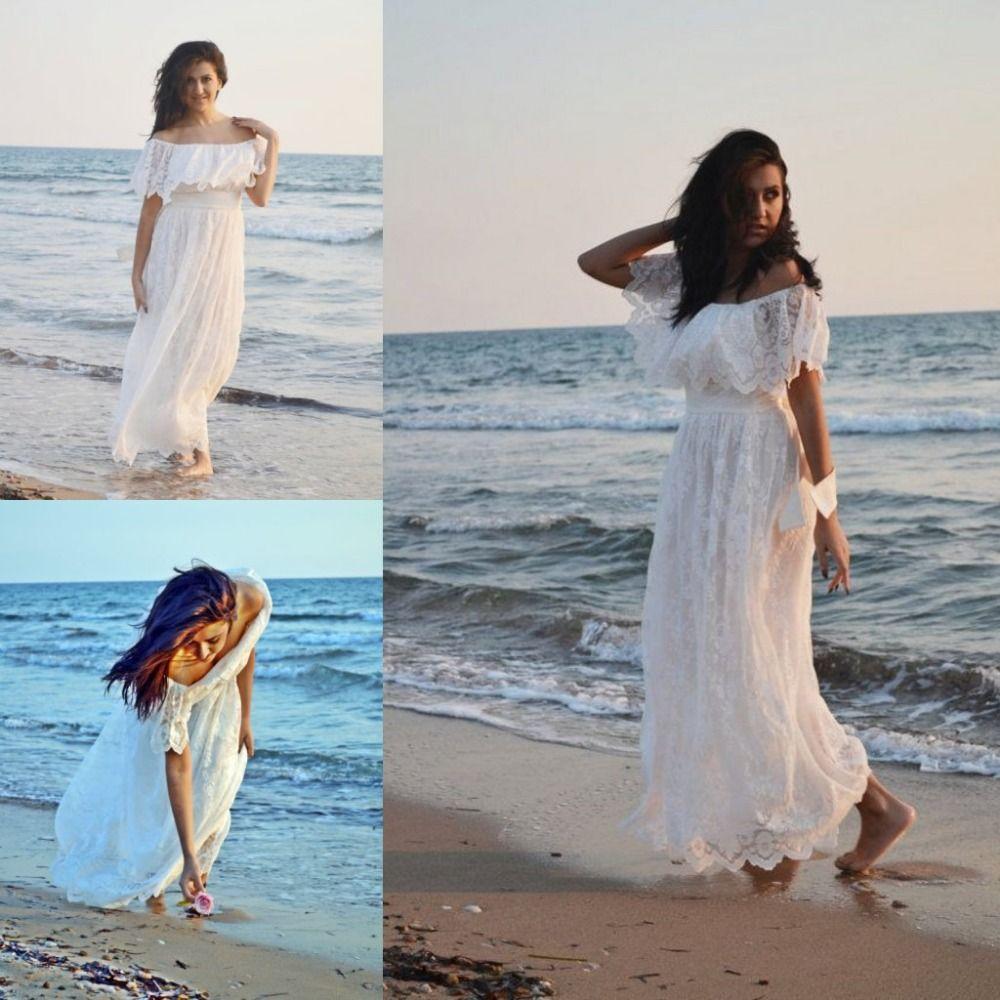 Bohemian Lace Wedding Dress 2016 Summer Beach Bridal Gowns Vintage ...