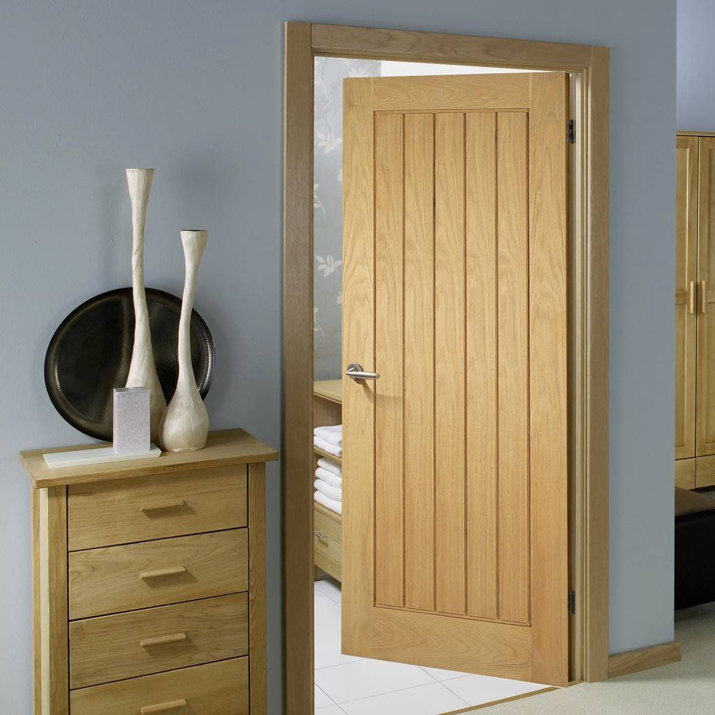 Mexicano Oak Fire Door with Vertical Lining is 1/2 Hour Fire Rated ...