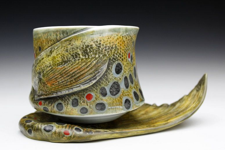 Brown Trout Yunomi and Fish Tail Saucer- Porcelain, Fired to Cone 10 Reduction