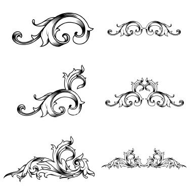 Vector Set Of Ornate Victorian Flourishes Download Includes Eps8 And Damask Art Stock Illustration Free Vector Art