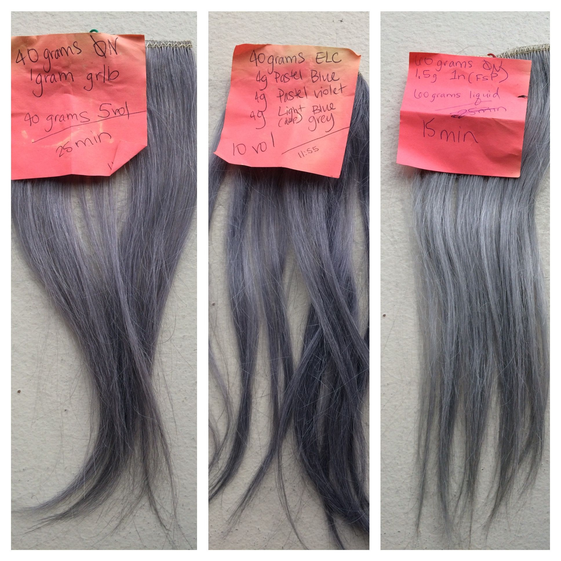 Aveda Gray Hair Color Formulas Done On Blonde Hair Wefts