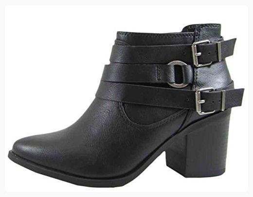 Women's Ankle Boots Stacked Chunky Heel Buckle Straps Zipper High Heel Booties