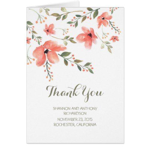Watercolor Wedding Thank You watercolor flowers elegant wedding thank you card