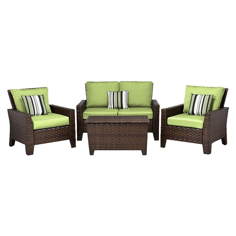 Belmont 4 Piece Brown Wicker Patio Thick Woven Conversation