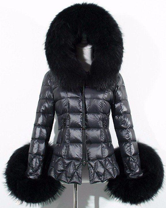 Black Faux-Fur Trim Down Jacket