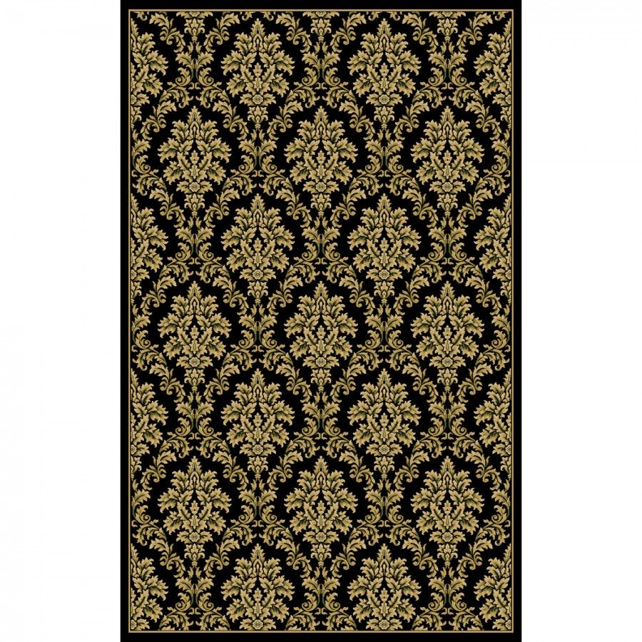 Central Oriental Interlude Damask Black Oriental Rug 8802bk