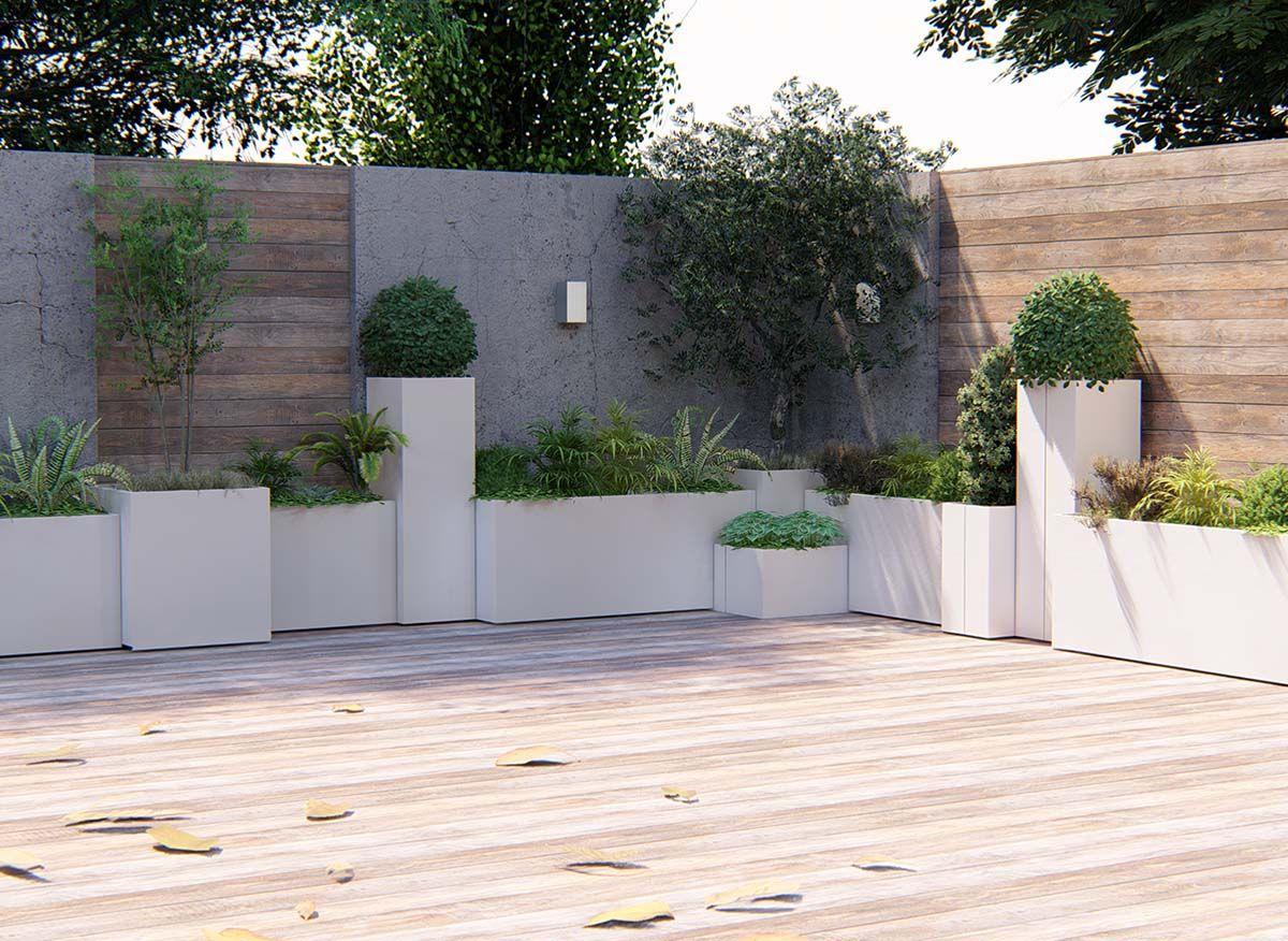 Fioriere Da Esterno In Cemento modularte - outdoor lab - design e produzione italiana
