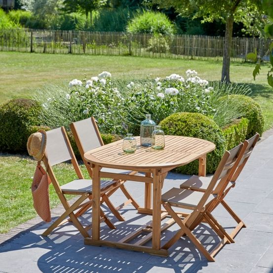 Salon de jardin ovale en bois d\'acacia FSC, extensible, 4 ...