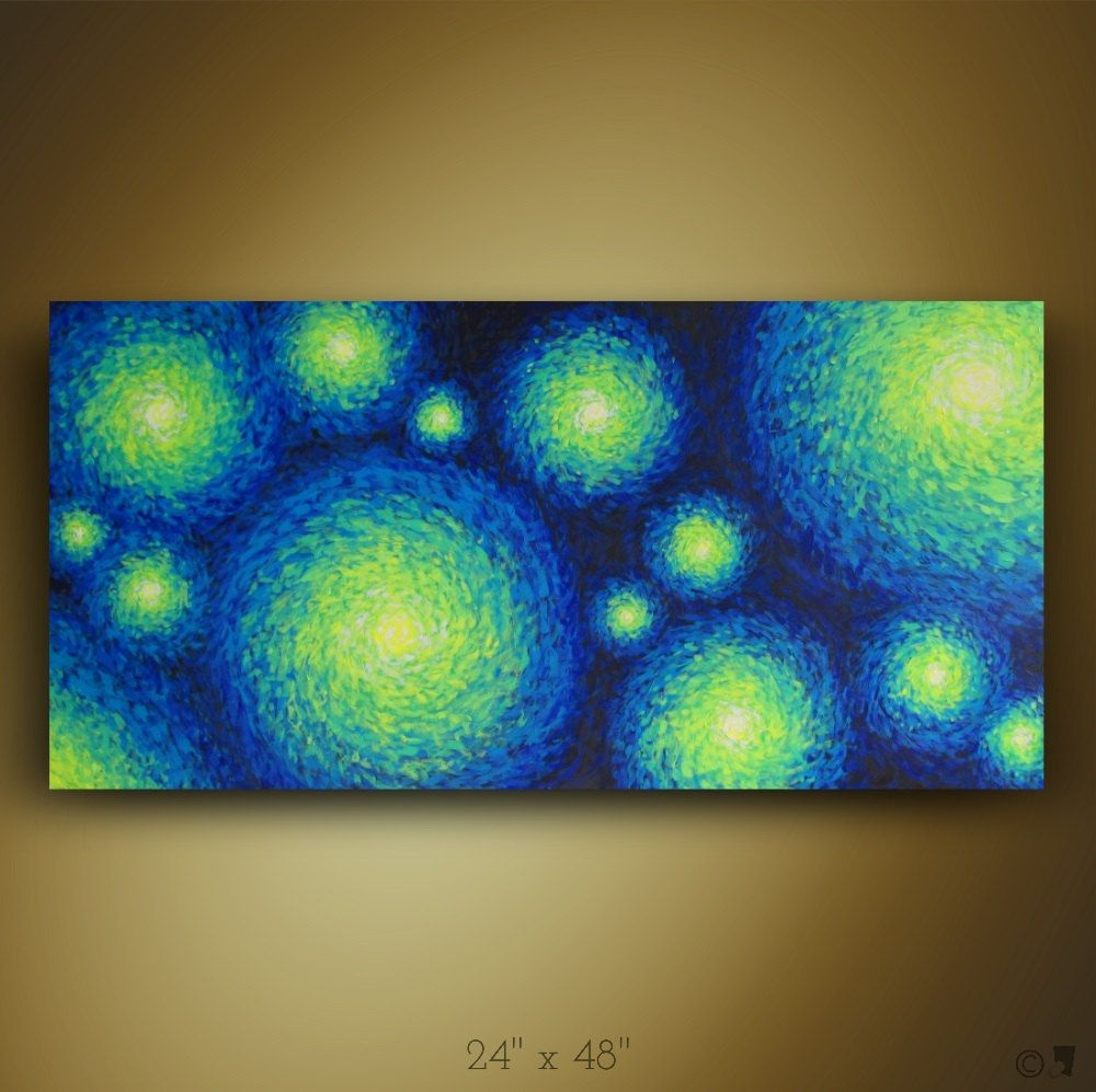 Room wall decor impressionist painting made to order abstract original handmade night sky star ocean blue green yellow white also psychedelic heavy texture red rh pinterest
