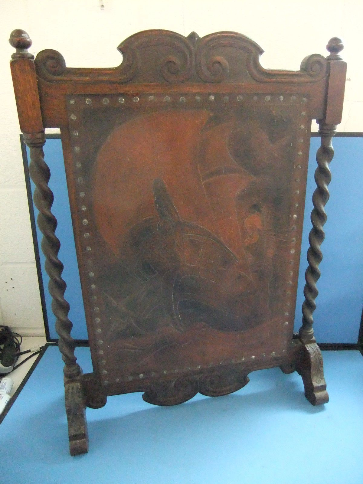 Wooden Victorian Fire Screen With Hand Worked Leather Featuring A Nautical Scene | eBay