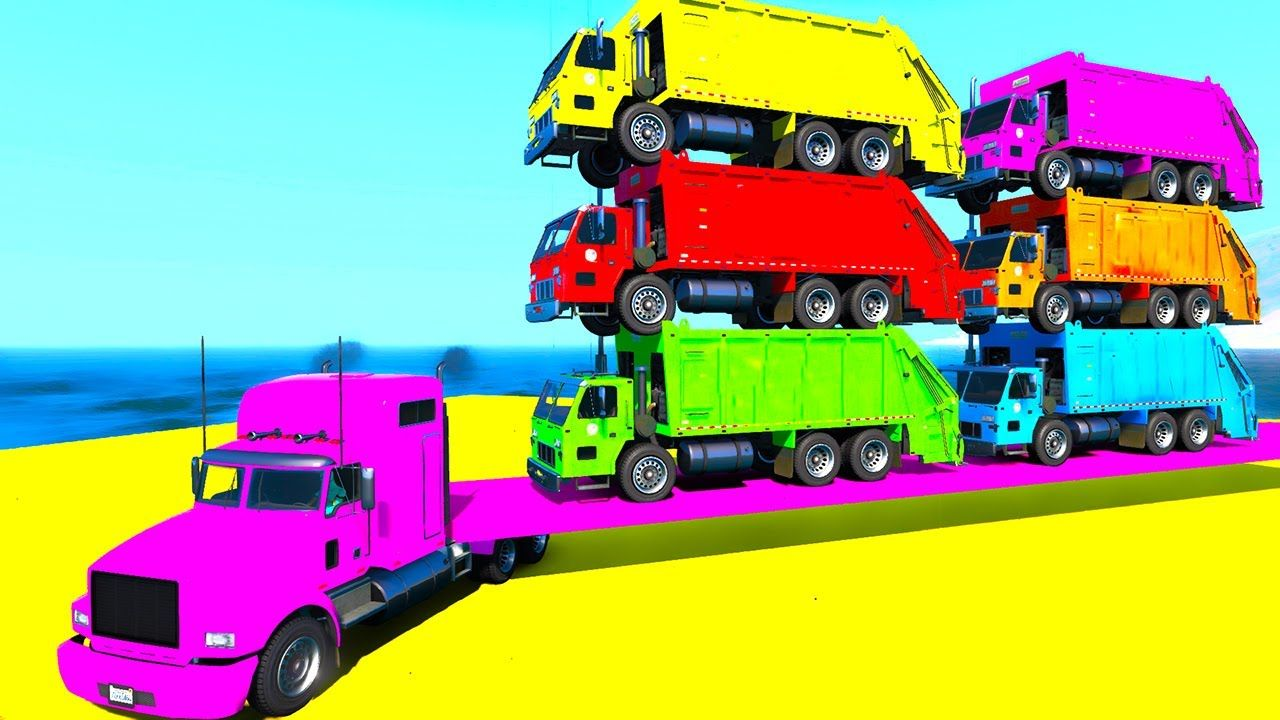 Transportation color trucks on truck spiderman and ...