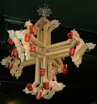 19th c. Venetian Sanctuary Lamp Chandelier Double-Cross - Purchase on Ruby Lane
