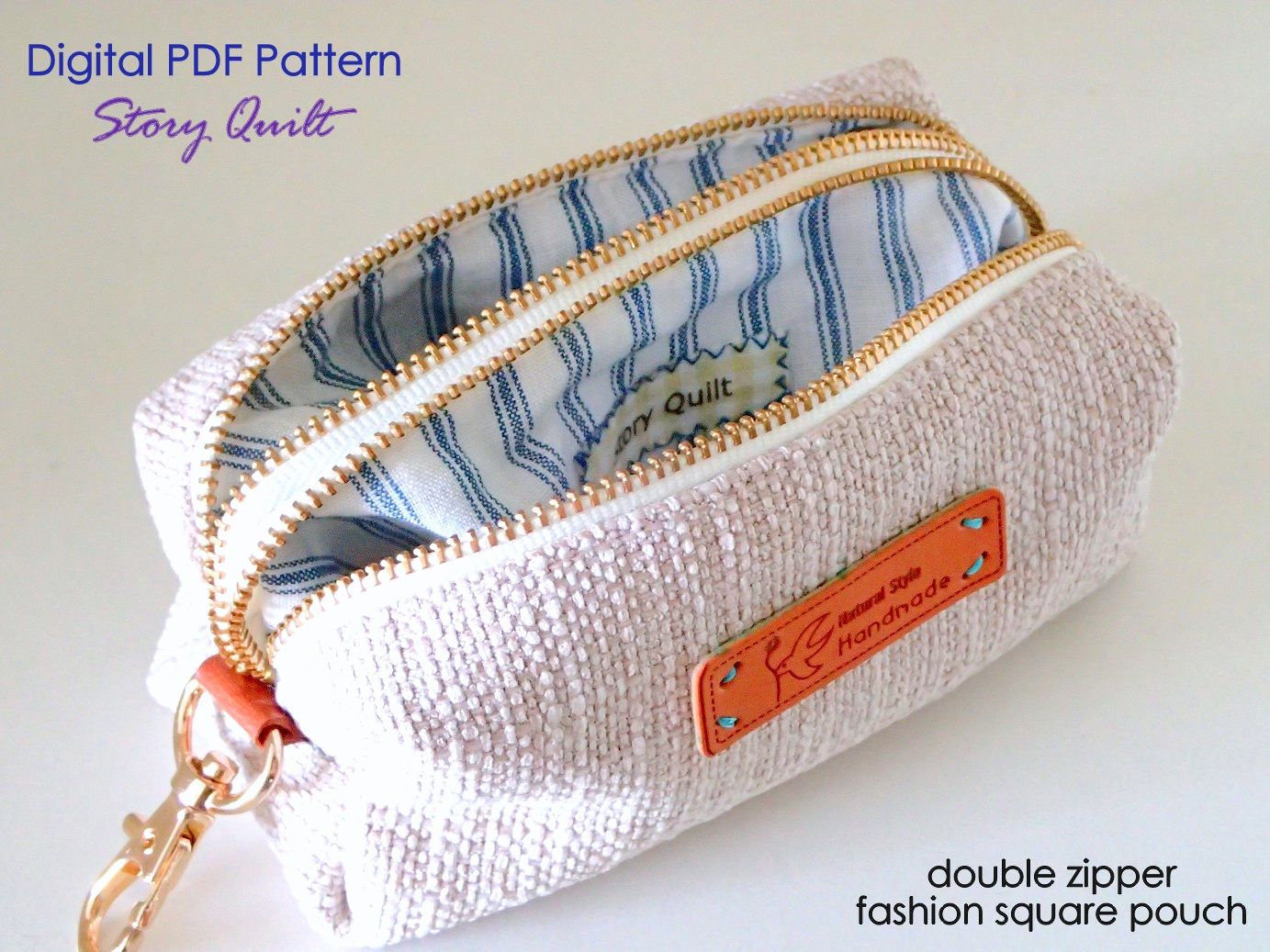 Multipurpose double zipper square pouch bag Pouch