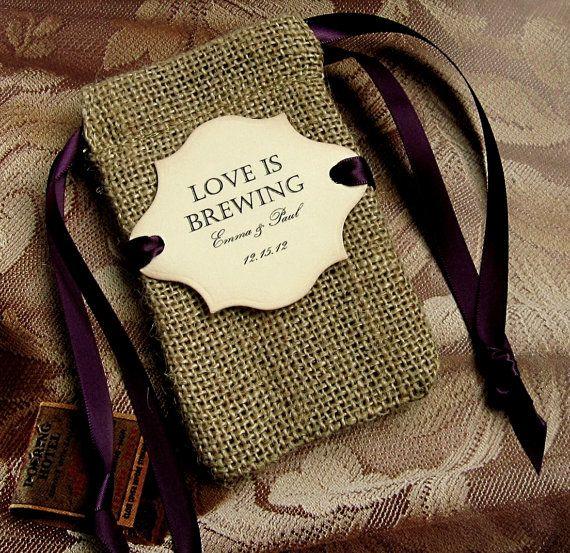 10 Burlap Wedding Favor Bags  Personalized  by CottageCandies, $28.50