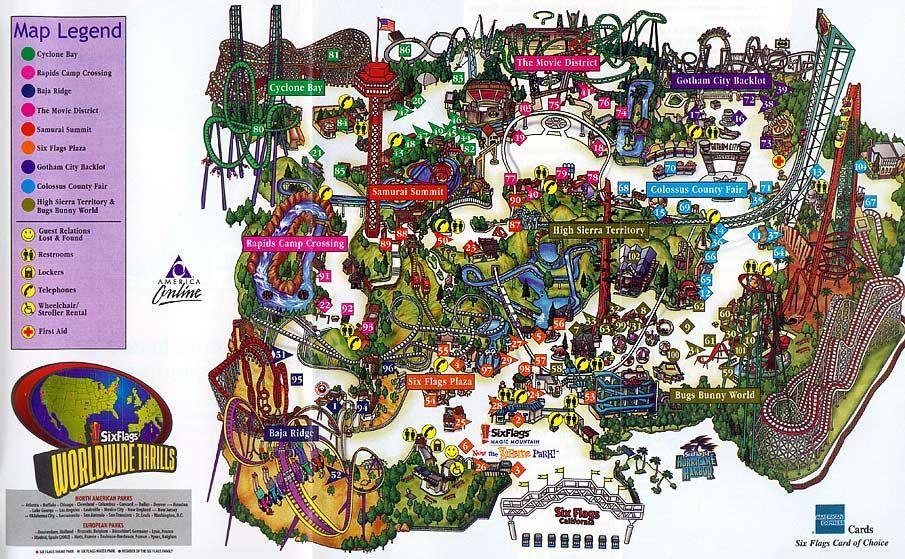 Six Flags Magic Mountain Map 2001 Six Flags Magic Mountain California Theme Park