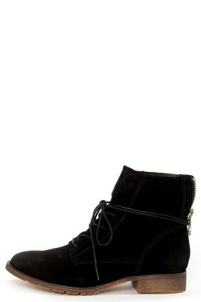 cc682a4fadb Steve Madden Rawlings Black Suede Lace-Up Ankle Boots | Clothing ...