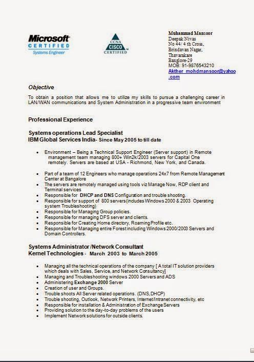 format of resume for job sample template example ofexcellent cv windows server administration sample resume - System Administration Sample Resume