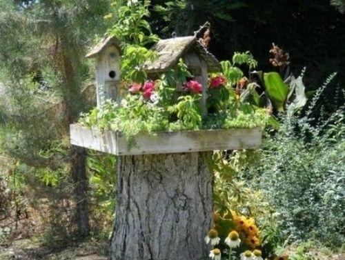 dekoideen aus baumstamm elemente interieur vögel haus | baumstamm, Terrassen ideen