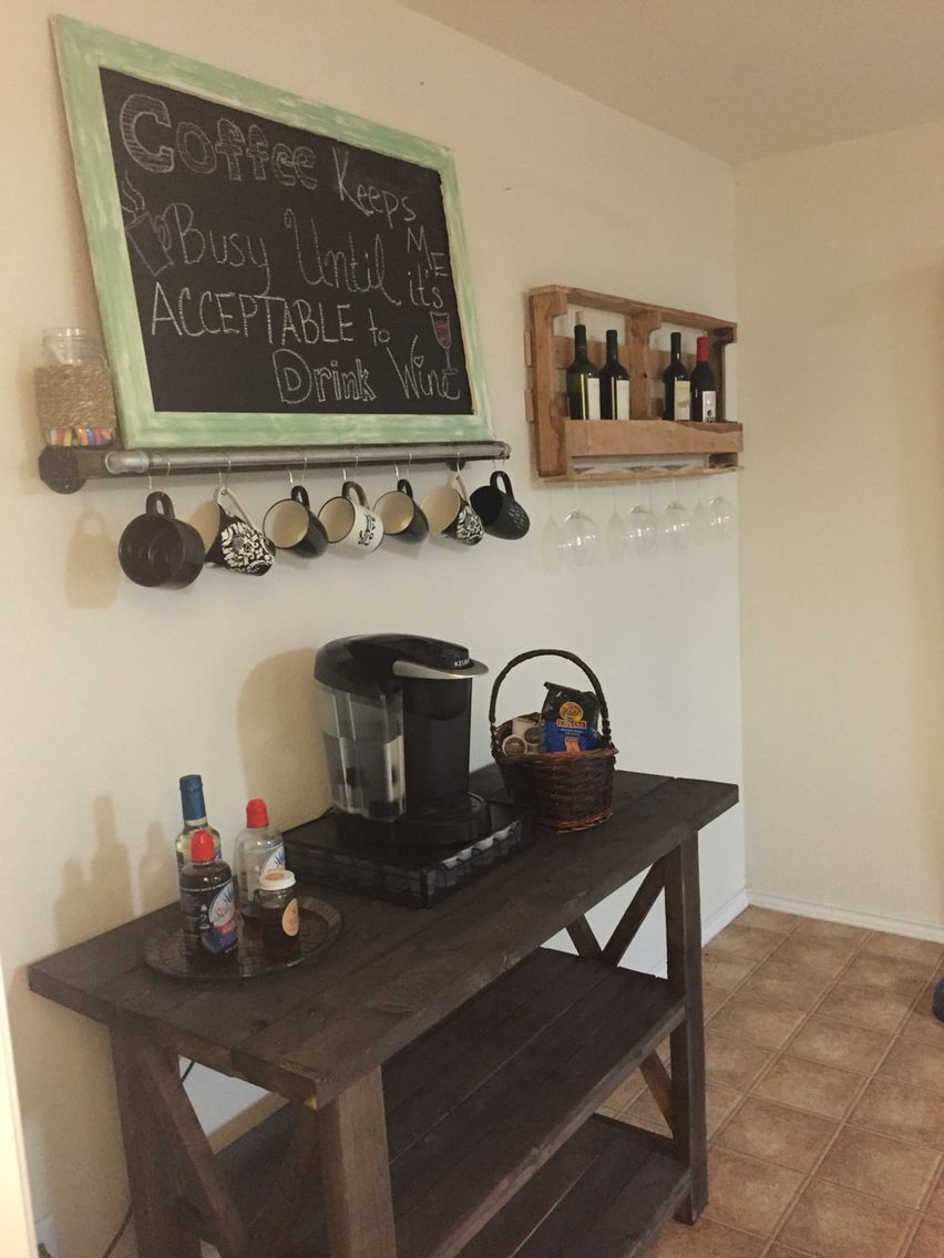 Pallet wine rack and coffee bar...all made by my hubby!   Wine decor kitchen, Wine and coffee ...