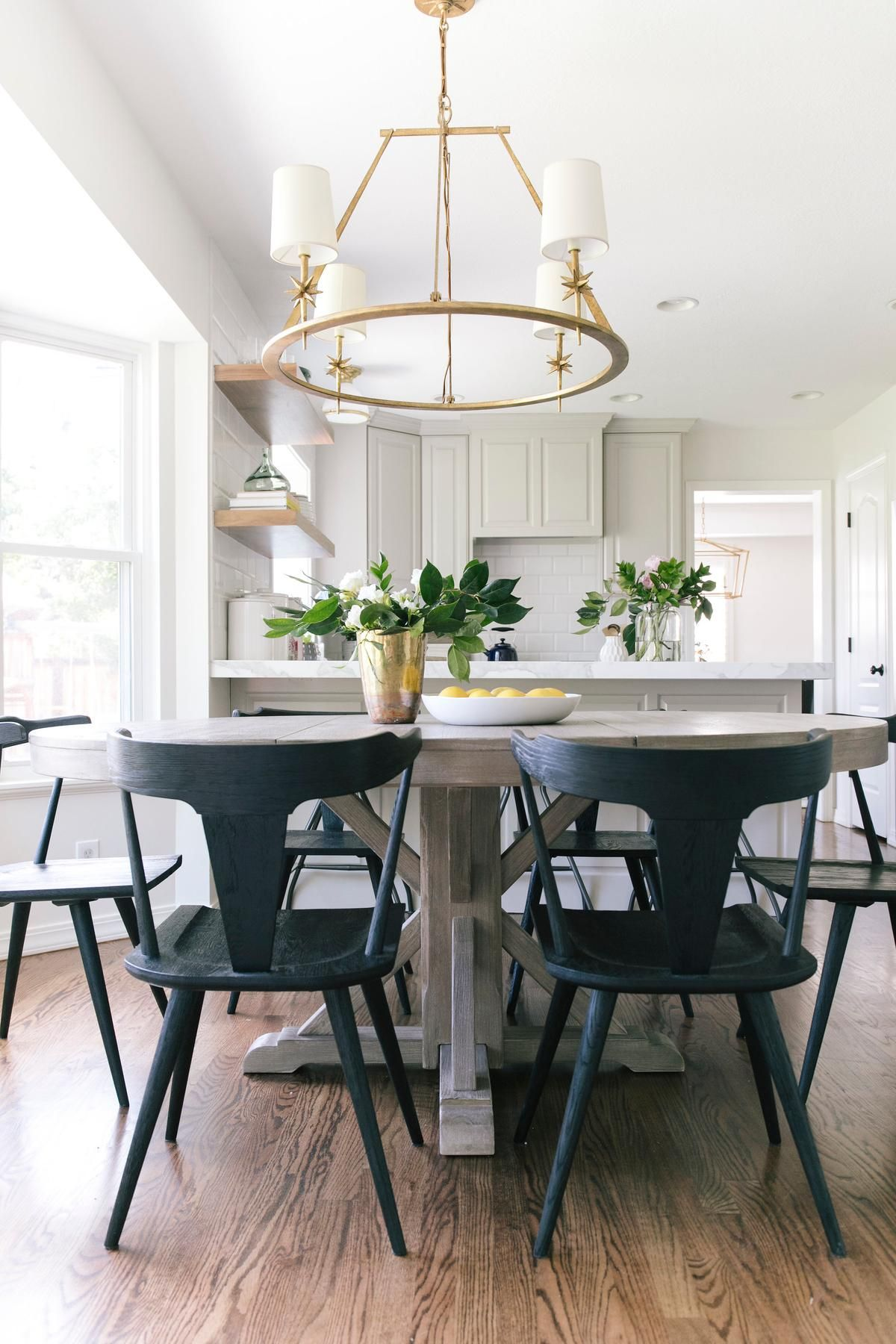How Best Friends Turn Their Passion Into Their Business Modern Dining Room Glamourous Dining Room Grey Dining Tables Wood table with black chairs