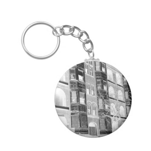 Mariners Apartment Complex Keychain: Old Apartment Buildings B/W Negative Key Chain • This