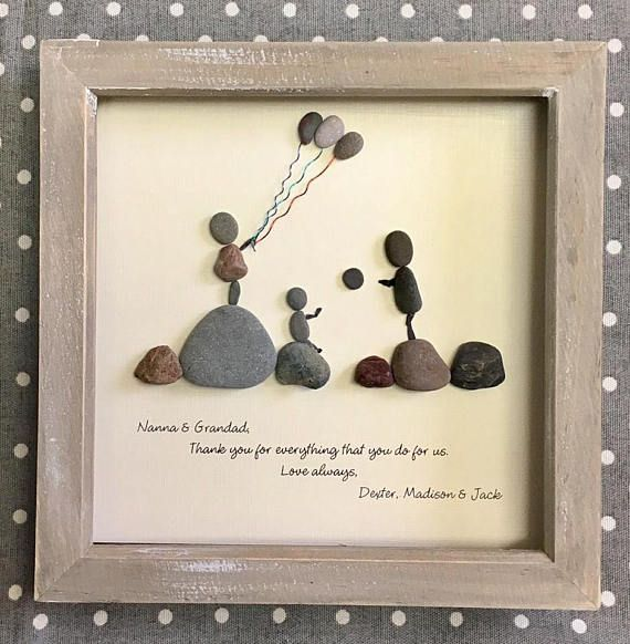 Pebble Art, Pebble Family Picture, Unique gift for family, Wedding Gift, Anniversary Gift, Beach Home Decor, Pebble Art Portrait, OOAK 23cm#23cm #anniversary #art #beach #decor #family #gift #home #ooak #pebble #picture #portrait #unique #wedding