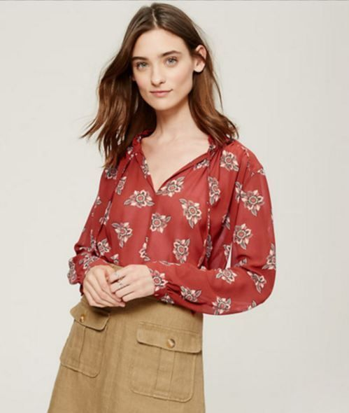c7464bfe2a1aac NWT Ann Taylor LOFT Blood Orange Faraway Floral Ruffle Tie Neck Blouse in  L