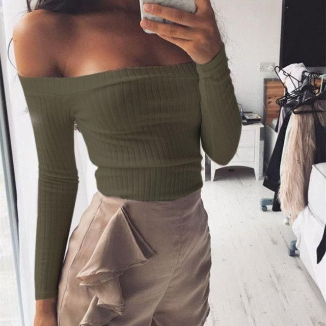 Off shoulder crop top t shirts long sleeve
