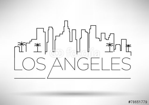 Los Angeles City Line Silhouette Typographic Design Stock Image And Royalty Free Vector Files On Fotolia Com Typographic Design City Drawing Los Angeles City
