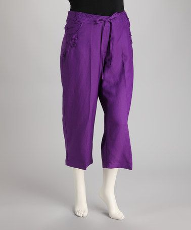 Take a look at this Purple Linen-Blend Capri Pants by Natural Collection on #zulily today!