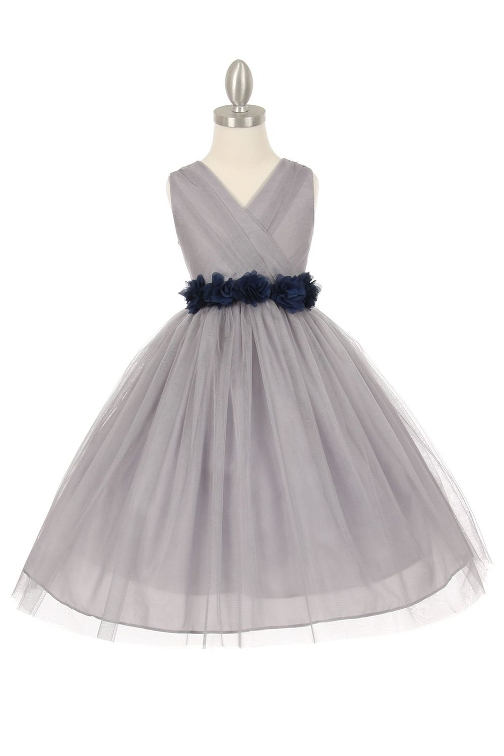 Silvernavy blue tulle v neck with removable floral sash flower girl silvernavy blue tulle v neck with removable floral sash flower girl dress izmirmasajfo