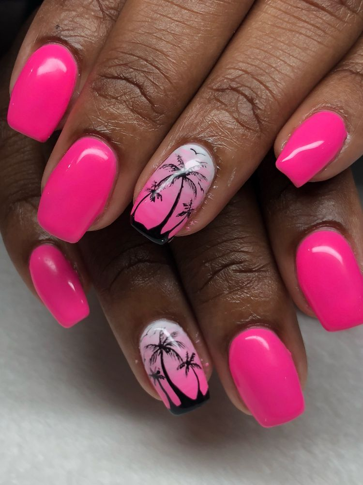 Perfect Palm Tree Coffin Nail Ideas In Hot Summer Palm Tree Nails Coffin Nails Acrylic Nails Summer Nails Palm Tree Nails Tree Nails Beach Nails